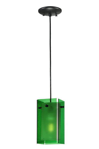 "Lodge Style Ceiling Lights Meyda 111285 - 5""Sq Metro Green Quadrato Mini Pendant Light"