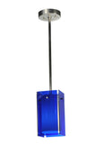 "Rustic Ceiling Lights Meyda 111383 - 5""Sq Metro Blue Quadrato Mini Pendant Light"