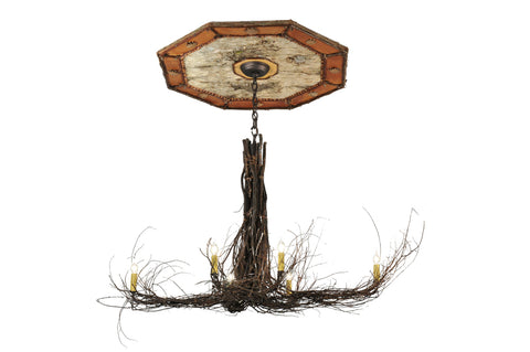 "Rustic Country Ceiling Lights Meyda 111482 - 48""L Twigs 6 LT w/Ceiling Medallion Chandelier"