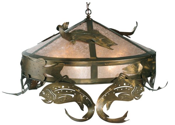 "Rustic Ceiling Lights Meyda 111957 - 48""W Catch of the Day Trout Pendant Light"
