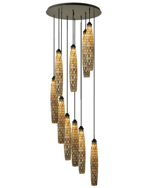 "Lodge Ceiling Lights Meyda 112057 - 48""W Checkers 10 LT Cascading Pendant Light"