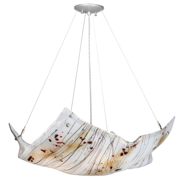 "Modern Country Ceiling Lights Meyda 112107 - 28""W Crinkle Ramoscelli Fused Glass Inverted Pendant Light"