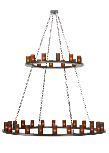 "Modern Farmhouse Style Ceiling Lights Meyda 112325 - 72""W Loxley 36 LT Two Tier Chandelier"
