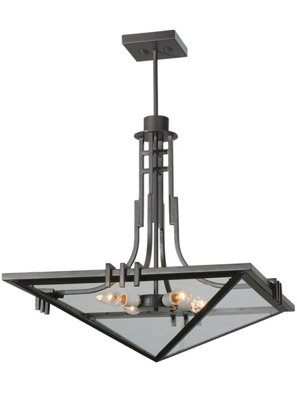 "Modern Cabin Style Ceiling Lights Meyda 112350 - 27""Sq Lineage Clear Inverted Pendant Light"