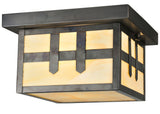"Farmhouse Ceiling Lights Meyda 112385 - 10""Sq Hyde Park Double Cross Mission Flushmount Light"