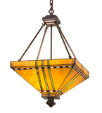 "Modern Log Cabin Style Ceiling Lights Meyda 112757 - 17""Sq Prairie Corn Inverted Pendant Light"