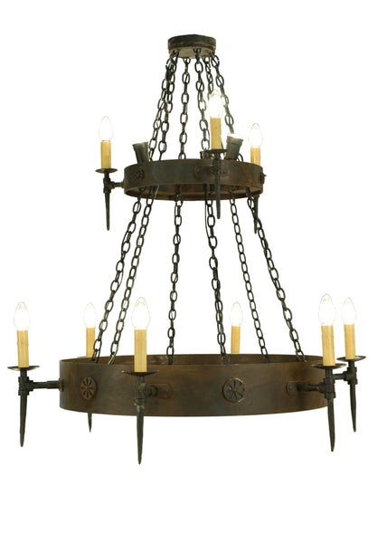 "Lodge Ceiling Lights Meyda 112813 - 47""W Warwick 12 LT Two Tier Chandelier"