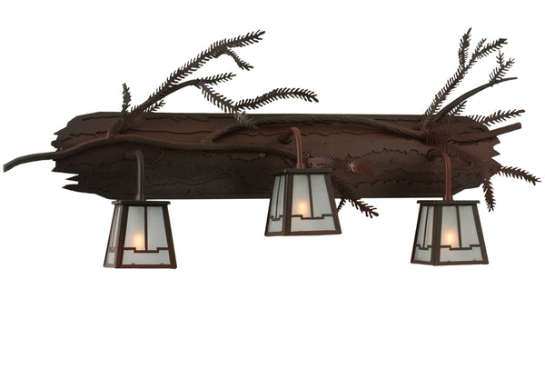 "Farmhouse Style Wall Sconce Lighting Meyda 113088 - 32""W Pine Branch Valley View 3 LT Vanity Light"