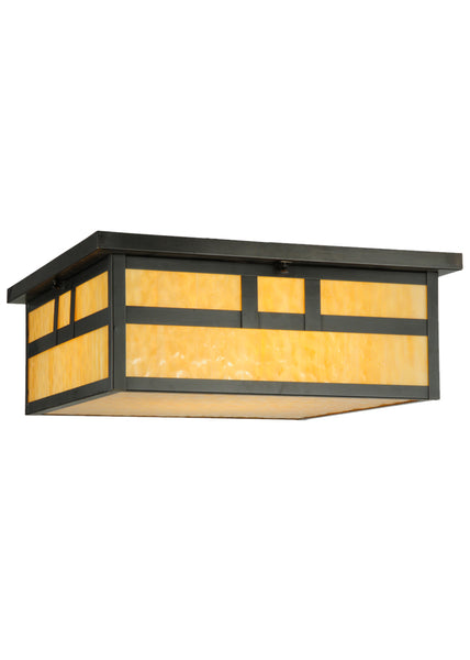 "Country Style Ceiling Lights Meyda 113493 - 22""Sq Hyde Park Double Bar Mission Flushmount Light"