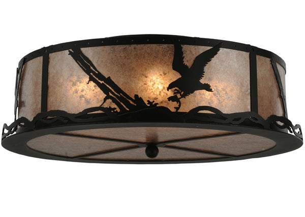 "Cabin Style Ceiling Lights Meyda 113623 - 22""W Strike of the Eagle Flushmount Light"