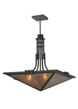 "Modern Lodge Ceiling Lights Meyda 113700 - 27""Sq Lineage Silver Mica Inverted Pendant Light"