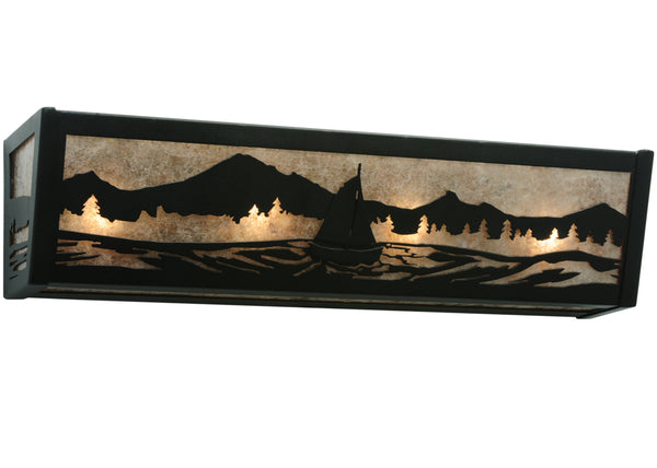 "Rustic Farmhouse Wall Sconce Lighting Meyda 114616 - 24""W Sailboat Mountain View Vanity Light"
