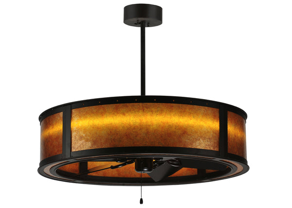 "Modern Log Cabin Style Ceiling Lights Meyda 114822 - 36.5""W Smythe Craftsman Amber Mica LED Chandel-Air"