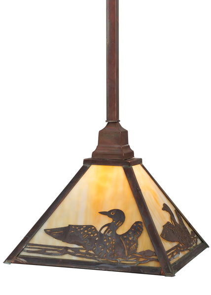 "Rustic Country Style Ceiling Lights Meyda 115196 - 12""Sq Loon Pendant Light"