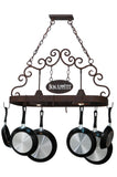 "Cabin Style Ceiling Lights Meyda 115648 - 34""L Bon Appetit 2 LT Pot Rack"