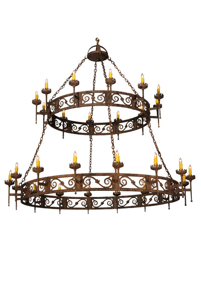 "Rustic Country Ceiling Lights Meyda 115701 - 83""W Majella 2 Tier Chandelier"