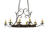"Farmhouse Ceiling Lights Meyda 115887 - 52""L Handforged Oval 8 LT W/Downlights Chandelier"