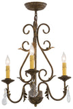 "Cabin Ceiling Lights Meyda 115925 - 18""W French Elegance 3 LT Chandelier"