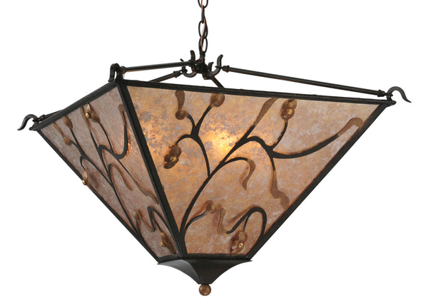 "Modern Lodge Style Ceiling Lights Meyda 116135 - 22""Sq Blossoming Branches Inverted Pendant Light"