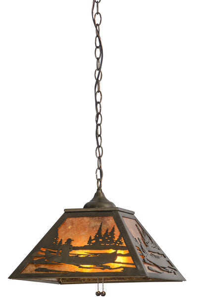 "Rustic Farmhouse Style Ceiling Lights Meyda 116147 - 16""Sq Canoe At Lake Pendant Light"