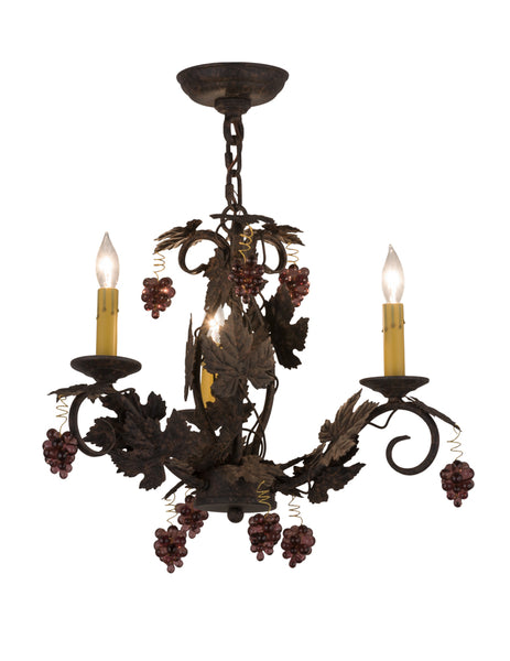 "Modern Rustic Style Ceiling Lights Meyda 117174 - 18""W Vineyard 3 LT W/Crystals Chandelier"