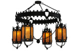"Log Cabin Ceiling Lights Meyda 117419 - 73""W Valhalla 4 LT Chandelier"