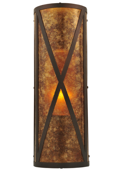 "Modern Lodge Wall Sconce Lighting Meyda 117850 - 7""W Amber Mica Diamond Mission Wall Sconce"