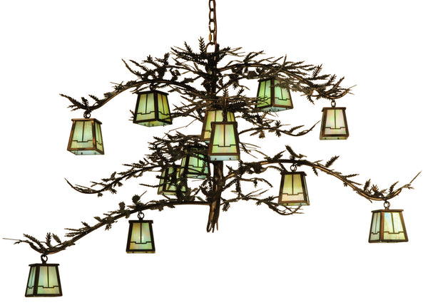 "Rustic Log Cabin Ceiling Lights Meyda 118366 - 50""W Pine Branch Valley View 12 LT Chandelier"