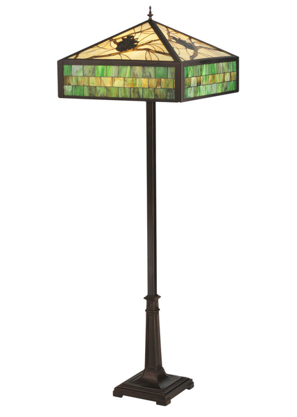 "Rustic Cabin Floor Lamps Meyda 119175 - 64.5""H Green Pine Branch Mission Floor Lamp"