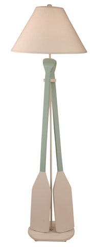 Modern Cabin Floor Lamps - Nude/Shaded Cove 2-Paddle Floor Lamp