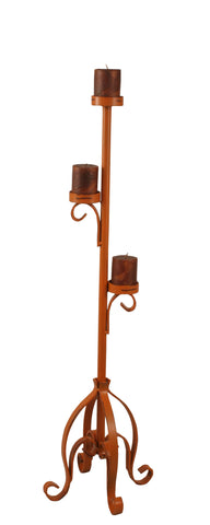 Rustic Log Cabin Accent Decor, Candle Holders - Distressed Orange Plain Pedestal 3 Tier Candle Stand