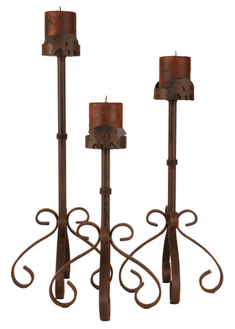 Rustic Country Accent Decor, Candle Holders - Rust Streaked Iron S Leg Candle Set w/ Bear Accent