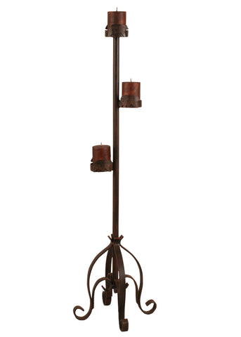 Modern Cabin Accent Decor, Candle Holders - Rust Streaked Iron Pedestal Candle Stand w/ Bear Accent