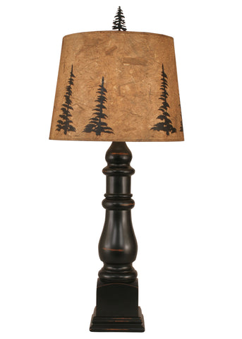 Rustic Farmhouse Style Table Lamps - Distressed Black Country Squire Table Lamp w/ Feather Tree Shade