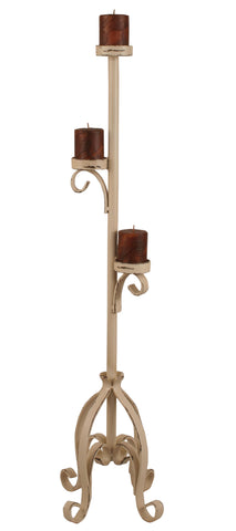 Rustic Lodge Accent Decor, Candle Holders - Distressed Cottage Plain Pedestal 3 Tiered Candlle Stand