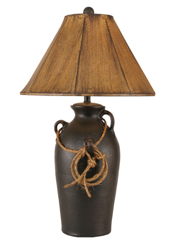 Modern Lodge Style Table Lamps - Distressed Black 3 Handle Table Lamp w/ Lasso
