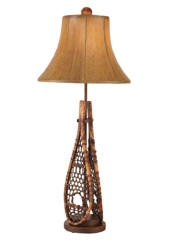 Modern Rustic Table Lamps - Stained Snow Shoe Buffet Lamp