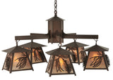 "Rustic Country Ceiling Lights Meyda 120554 - 40""W Scotch Pine 5 LT Chandelier"