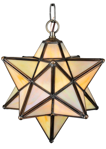 "Log Cabin Style Ceiling Lights Meyda 12133 - 12""W Moravian Star Beige Iridescent Pendant Light"
