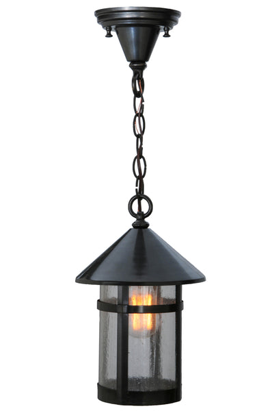 "Modern Lodge Style Ceiling Lights Meyda 121508 - 8""W Craftsman Signature Fulton Hanging Lantern Pendant Light"