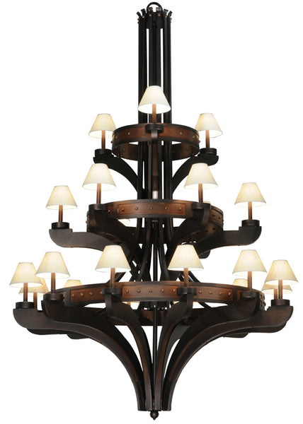"Log Cabin Style Ceiling Lights Meyda 122634 - 62""W Castilla 3 Tier Chandelier"