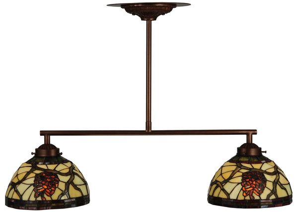 "Log Cabin Ceiling Lights Meyda 123357 - 27""L Pinecone Dome 2 LT Island Pendant Light"