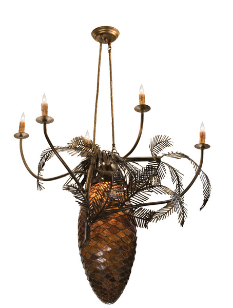 "Modern Cabin Style Ceiling Lights Meyda 12363 - 29.5""W Pinecone 5 Arm Chandelier"