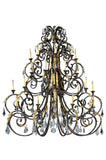 "Rustic Farmhouse Ceiling Lights Meyda 124019 - 72""W Serratina 32 LT Chandelier"