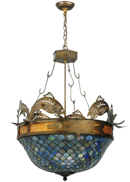 "Modern Log Cabin Ceiling Lights Meyda 124101 - 30""W Catch of the Day Fishscale Inverted Pendant Light"