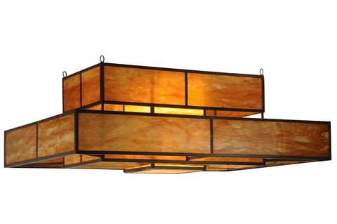"Rustic Cabin Style Ceiling Lights Meyda 124252 - 72""L Fellowship Oblong Flushmount Light"