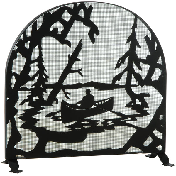 "Modern Farmhouse Fireplace Screens Meyda 124963 - 35""W X 34.5""H Canoe At Lake Arched Fireplace Screen"