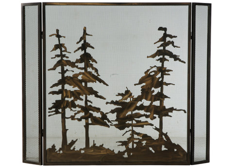 "Modern Country Fireplace Screens Meyda 124964 - 51""W X 40.5""H Tall Pines Fireplace Screen"