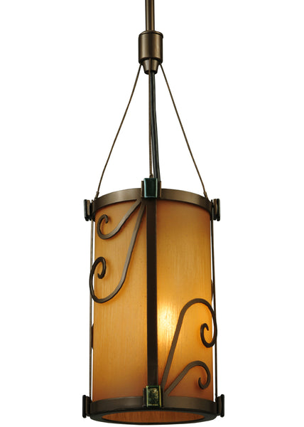 "Rustic Log Cabin Ceiling Lights Meyda 125507 - 5.25""W Cilindro Sorbonn Mini Pendant Light"