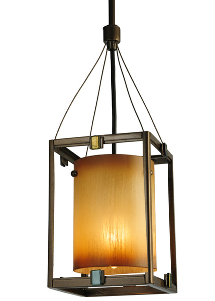 "Modern Log Cabin Ceiling Lights Meyda 125508 - 6.25""Sq Kitzi Cylinder Mini Pendant Light"